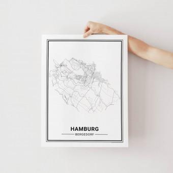 HAMBURG Bergedorf Poster Stadtplan von Skanemarie