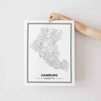 HAMBURG Eimsbüttel Poster Stadtplan von Skanemarie