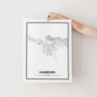 HAMBURG Mitte Poster Stadtplan von Skanemarie