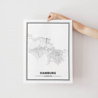 HAMBURG Harburg Poster Stadtplan von Skanemarie