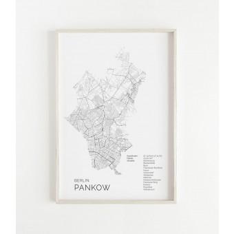 Karte BERLIN Pankow als Print im skandinavischen Stil von Skanemarie +++ Geschenkidee zu Weihnachten