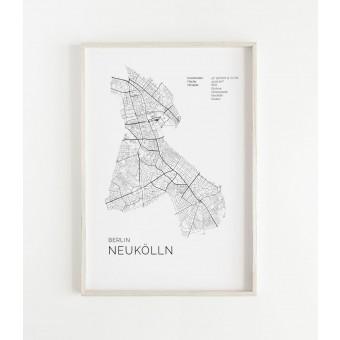 Karte BERLIN NEUKÖLLN als Print im skandinavischen Stil von Skanemarie
