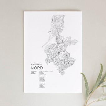 Hamburg Nord Karte als hochwertiger Print - Posterdruck im skandinavischen Stil von Skanemarie