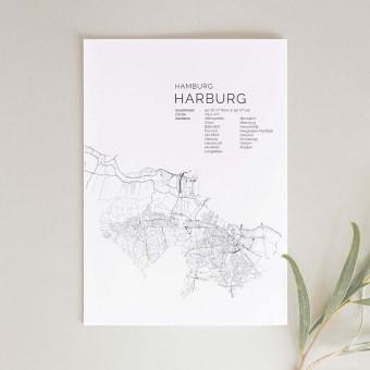 Hamburg Harburg Karte als hochwertiger Print - Posterdruck im skandinavischen Stil von Skanemarie