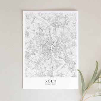 Köln Karte als hochwertiger Print - Posterdruck im skandinavischen Stil von Skanemarie