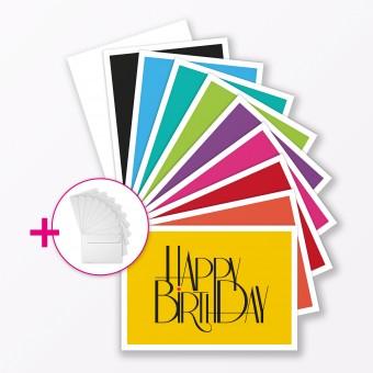 """TYPOP 10-teiliges Set Geburtstagskarte """"Happy Birthday to You"""" Klappkarten DIN A6 inkl. Umschläge weiss"""