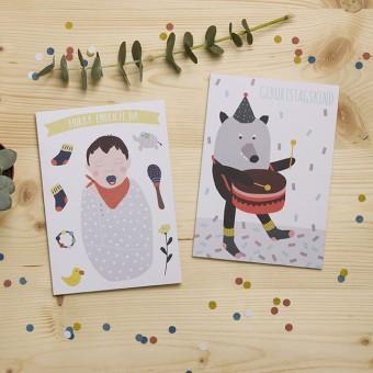 """HEJ Marlen Grußkarte """"Hurra endlich da"""" und """"Geburtstagskind""""   Set aus 2 Karten incl. Kuverts"""