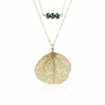 Anoa 2er Kette '3 Grüne Perlen, Blatt'