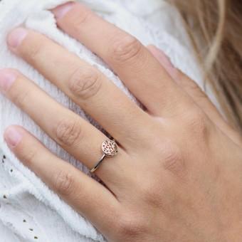 Anoa Ring Charlotta Lebensbaum 925 Sterling Silber rosévergoldet