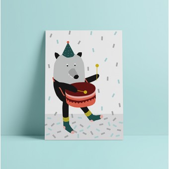"""HEJ Marlen Poster """"Party Wolf"""" A3"""