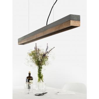 GANTlights - Beton Hängeleuchte [C1]dark/walnut Lampe Nussbaum minimalistisch