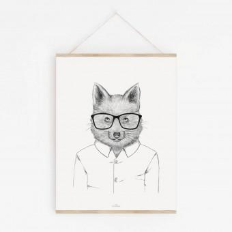 Fuchs im Hemd als hochwertiger Print im minimalistischen Stil von Skanemarie +++ Geschenkidee +++ Poster, Wandbild