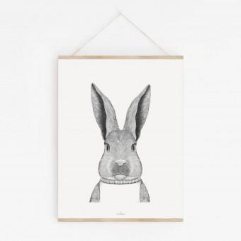 Hase im Pulli als hochwertiger Print im minimalistischen Stil von Skanemarie +++ Geschenkidee +++ Poster, Wandbild