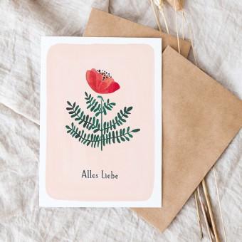 "Paperlandscape | Faltkarte ""Alles Liebe"" | botanisch | Pflanzen | Aquarell Wildblume rot"