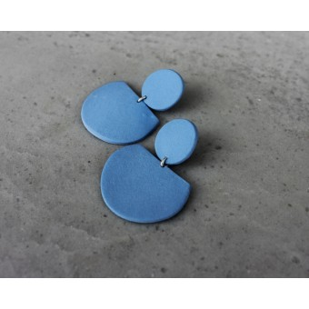 Skelini - Kobaltblaue, matte, geometrische Porzellanohrringe