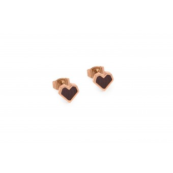 "BeWooden Ohrringe mit Holzdetail - Ohrstecker - Motiv Herz - ""Rose Earrings Heart"""