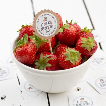 Kleine Papeterie // Obststicker // Erdbeere