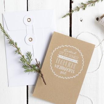 Kleine Papeterie // Weihnachtskarte // Kraftpapier