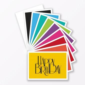 """TYPOP 10-teiliges Set Geburtstagskarte """"Happy Birthday"""" DIN A6 - verschiedene Farben (ohne Umschläge)"""