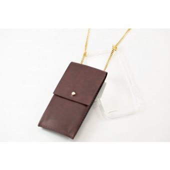 Lapàporter – iPhone Handykette aus Metall mit Lederriemen und abnehmbarer Tasche, bordeaux/gold