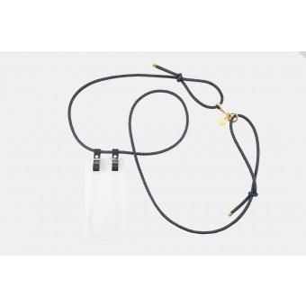 Lapàporter – iPhone Hülle zum umhängen mit geflochtener Lederkordel, dunkelblau/gold