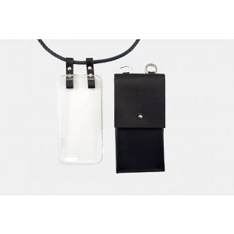 Lapàporter – iPhone case zum umhängen mit geflochtener Lederkordel und abnehmbarer Tasche, dunkelblau/silber