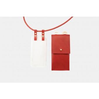 Lapàporter – Handykette mit geflochtener Lederkordel und abnehmbarer Tasche, rot
