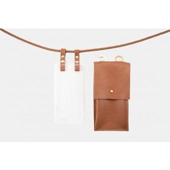 Lapàporter – iPhone case zum umhängen mit geflochtener Lederkordel und abnehmbarer Tasche, cognac