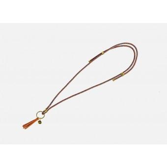 Lapàporter - Schlüsselanhänger zum umhängen mit Lederquaste – Mélange, dunkelblau-mandarin