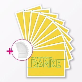 """TYPOP 10-teiliges Set Dankeskarte """"Dankeschön"""" GELB Klappkarte A6 inkl. Umschläge weiss"""