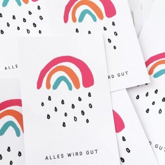 Kleine Papeterie // Alles wird gut // Sticker // Kleiner Regenbogen