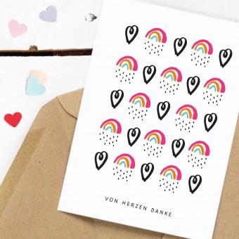 Kleine Papeterie // Postkarte // Von Herzen Danke