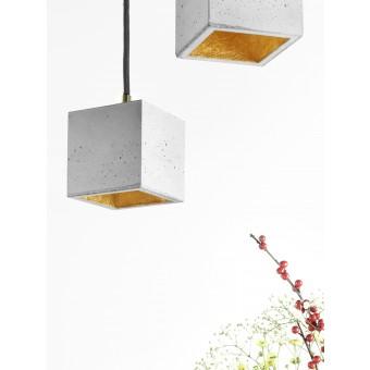 GANTlights - [B6] Hängelampe quadratisch klein Beton und Gold