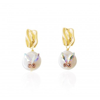 Valerie Chic - Stechpalmen Perlen Ohrringe - 18 Karat vergoldet, Swarovski Kristallen Rosa
