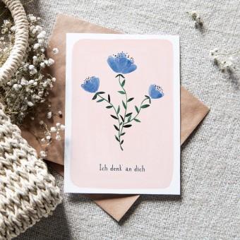 "Paperlandscape | Faltkarte ""Ich denk' an dich"" | botanisch | Pflanzen | Aquarell Wildblume blau"