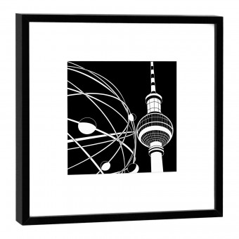 COGNOSCO Fine Art Print Weltzeituhr Berlin im Holzrahmen schwarz, 27 x 27 cm