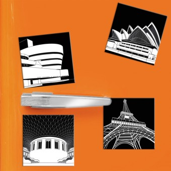 COGNOSCO - 4 Kühlschrankmagnete Stadtgrafiken international