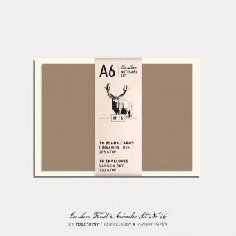 Feingeladen / Eco Love FOREST ANIMALS Notecard Set No 16 / A6