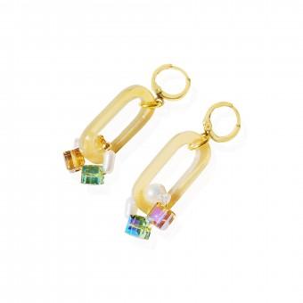 Valerie Chic - LANA Ohrringe - Honig, 18 Karat vergoldet, Swarovski Kristalle, Süßwasserperlen, Büffelhorn