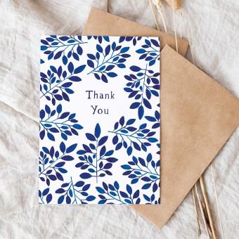 "Paperlandscape | Faltkarte ""Thank You blaue Blätter"" | botanisch | Pflanzen"