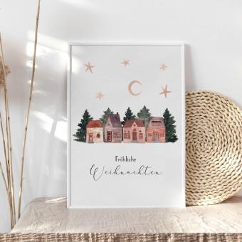 Paperlandscape | Aquarell Kunstdruck | Weihnachtsposter | Weihnachtliches Dorf