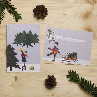 """HEJ Marlen Grußkarte """"Leise rieselt der Schnee"""" und Postkarte """"Frohe Weihnachten""""   Set incl. Kuvert"""