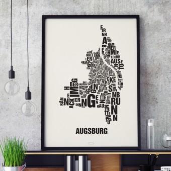 Buchstabenort Augsburg Stadtteile-Poster Typografie Siebdruck