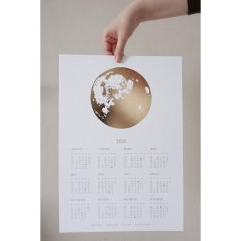GOLDEN MOON 2020 - Mondphasen Kalender A3 - mit Goldfolie - Anna Cosma