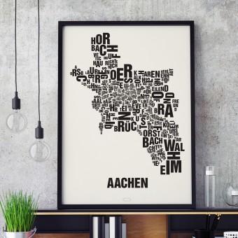Buchstabenort Aachen Stadtteile-Poster Typografie Siebdruck