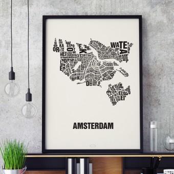Buchstabenort Amsterdam Stadtteile-Poster Typografie Siebdruck