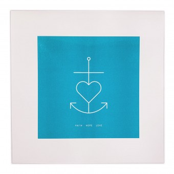 Feingeladen // SIMPLY DIVINE // Anchor Symbol »Faith Hope Love« (AQ), RISO-Kunstdruck, 30 x 30 cm