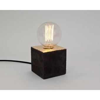 LJ LAMPSalpha black gold - Tischleuchte aus schwarzem Beton mit Textilkabel
