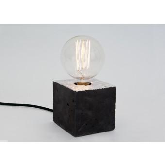 LJ LAMPSalpha black silber - Tischleuchte aus schwarzem Beton mit Textilkabel