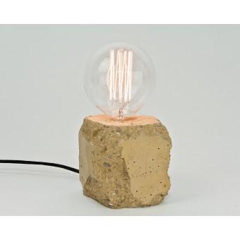 LJ LAMPS alpha demolished gelb - Tischleuchte aus Beton mit Textilkabel